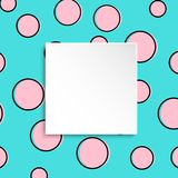 Pop art colorful confetti background. Big colored spots and circ. Les on white background with black dots and ink lines. Banner with 3d paper plate in pop art Royalty Free Stock Image