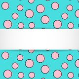 Pop art colorful confetti background. Big colored spots and circ. Les on white background with black dots and ink lines. Banner with 3d paper plate in pop art Stock Photos