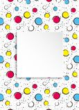 Pop art colorful confetti background. Big colored spots and circ. Les on white background with black dots and ink lines. Banner with 3d paper plate in pop art Stock Image