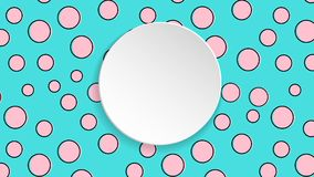 Pop art colorful confetti background. Big colored spots and circ. Les on white background with black dots and ink lines. Banner with 3d paper plate in pop art Royalty Free Stock Photos