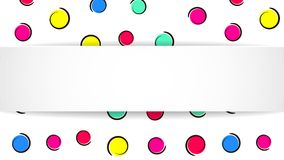 Pop art colorful confetti background. Big colored spots and circ. Les on white background with black dots and ink lines. Banner with 3d paper plate in pop art Stock Photography