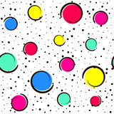 Pop art colorful confetti background. Big colored spots and circles on white background with black dots and ink lines. Vector illustration Royalty Free Stock Photography