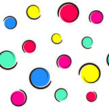 Pop art colorful confetti background. Big colored spots and circles on white background with ink curves. Vector illustration Stock Photo