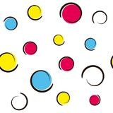 Pop art colorful confetti background. Big colored spots and circles on white background with ink curves. Vector illustration Royalty Free Stock Image