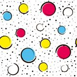 Pop art colorful confetti background. Big colored spots and circles on white background with black dots and ink lines. Vector illustration Stock Photo