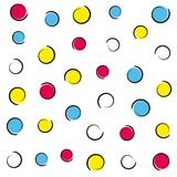 Pop art colorful confetti background. Colored spots and circles on white background with ink curves. Vector illustration Stock Photography