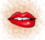 Pop art colorful design Biting her red lips Stock Photography