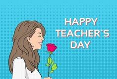 Pop Art Colorful Retro Style för kort för kvinnahållRose Flower Teacher Day Holiday hälsning Royaltyfri Bild