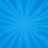 Comic background. Pop art comic background lightning blast halftone dots. Cartoon Vector Illustration on blue Royalty Free Stock Photography