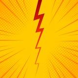 Pop art comic background lightning blast halftone dots. Cartoon Vector Illustration on yellow.  Stock Photography