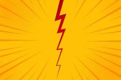 Pop art comic background lightning blast halftone dots. Cartoon Vector Illustration on yellow.  Royalty Free Stock Photography