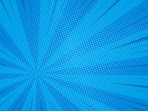 Comic background. Pop art comic background speed beams halftone dots. Cartoon Vector Illustration on blue Stock Image
