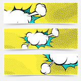 Pop-art comic book explosion card collection Stock Photography