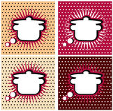 Pop Art Comic book Kitchen cooking sign pan or casserole , comic book style. Add your logo or text. In white space Stock Image