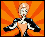 Pop Art Comic book woman Under Cover, comic book style. Royalty Free Stock Images