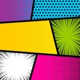 Pop art comic book strip background. Pop art comics book magazine cover template. Cartoon funny vintage strip mock up. Vector halftone illustration. Blank Royalty Free Stock Image