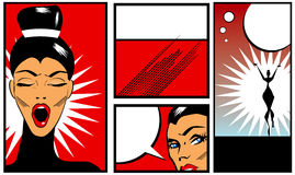 Pop art Comic Book Style Banners with beautiful woman in black b Stock Photo