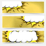 Pop-art comic book style web flyer layout Stock Image
