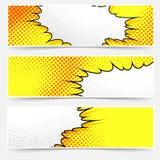 Pop-art comic book style yellow header set Stock Photography
