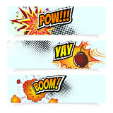Pop Art Comic Book Vector Illustration.   Design Elements. Explosion Bomb, Steam cloud, Sound Effects, Halftone Stock Photo