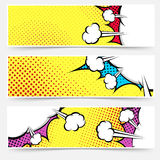 Pop art comic book yellow header collection Stock Photos