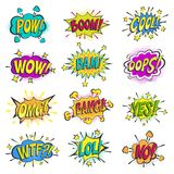 Pop art comic bubbles vector cartoon popart balloon bubbling colorful speech cloud asrtistic comics shapes isolated on Royalty Free Stock Photos