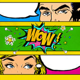 Pop Art comic dialog. Pop Art couple. Pop Art Love. Advertising poster. Comic man and women with speech bubble.Wow face. Surprise. Royalty Free Stock Image