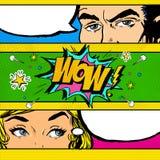 Pop Art comic dialog. Pop Art couple. Pop Art Love. Advertising poster. Comic man and women with speech bubble.Wow face. Surprise. Royalty Free Stock Image