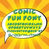 Pop art comic fun font vector illustration Stock Photo