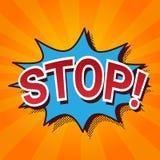 Pop Art Comic Icon Stop Lettering i pratstundbubblan som exploderar Arkivfoto