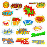 Pop art comic sale discount icons Royalty Free Stock Photo