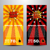 Pop art comic sale discount promotion banners Stock Photography