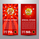Pop art comic sale discount promotion banners vector illustration Royalty Free Stock Photography