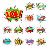 Pop art comic speech bubble boom effects vector explosion bang communication cloud fun humor illustration Stock Images