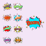 Pop art comic speech bubble boom effects vector explosion bang communication cloud fun humor illustration Stock Photos