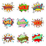 Pop art comic speech bubble boom effects vector explosion bang communication cloud fun humor illustration Royalty Free Stock Images