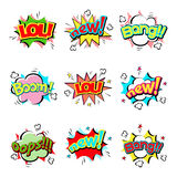 Pop art comic speech bubble boom effects vector explosion bang communication cloud fun humor illustration. Book element abstract funny balloon Stock Photo