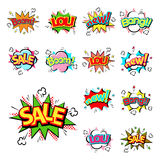 Pop art comic speech bubble boom effects vector explosion bang communication cloud fun humor illustration. Book element abstract funny balloon Royalty Free Stock Photos
