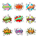 Pop art comic speech bubble boom effects vector explosion bang communication cloud fun humor illustration. Book element abstract funny balloon Royalty Free Stock Photo