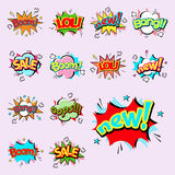 Pop art comic speech bubble boom effects vector explosion bang communication cloud fun humor illustration. Book element abstract funny balloon Stock Image