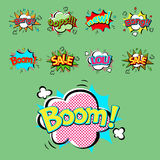 Pop art comic speech bubble boom effects vector explosion bang communication cloud fun humor illustration Royalty Free Stock Photo