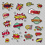 Pop Art Comic Speech Bubbles with Expressions Cool Bang Zap Lol. Vector Retro Background Stock Image