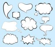 Pop art comic speech bubbles set. Blank clouds for letterings. Stock Photos