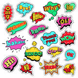 Pop Art Comic Speech Bubbles Set. Fashion Badges, Patches, Stickers in Pop Art Comic Speech Bubbles Set with Halftone Dotted Cool Shapes with Expressions Wow royalty free illustration
