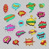 Pop Art Comic Speech Bubbles Set with Halftone Dotted Cool Shapes with Expressions Wow, Bingo, Like. Fashion Badges, Patches, Stickers in Pop Art Comic Speech stock illustration
