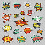 Pop Art Comic Speech Bubbles Set with Halftone Dotted Cool Shapes with Expressions Wow, Bingo, Like