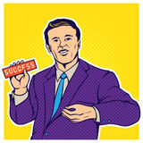Pop art comic style illustration of businessman Stock Photography
