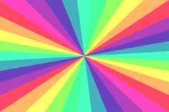 Pop art comic style rainbow colored sunbeam rays. Background royalty free illustration