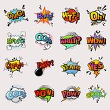 Pop art comic vector speech bubbles popart style in humor bubbling expression asrtistic comics shapes isolated on white Stock Photos