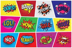 Pop art comic vector speech cartoon bubbles in popart style with humor text boom or bang bubbling expression asrtistic Royalty Free Stock Photos